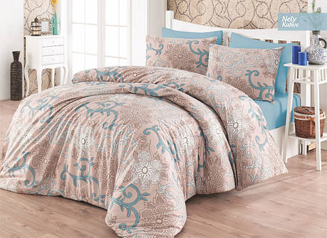 Комплект постельного белья Ecosse Ranforce семейный ранфорс арт.Nely Kahve, фото 2