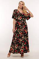 Длинное летнее платье для полных черное