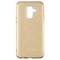 Чехол силиконовый с блестками Remax Glitter для Samsung Galaxy A6 Plus 2018 A605 Gold