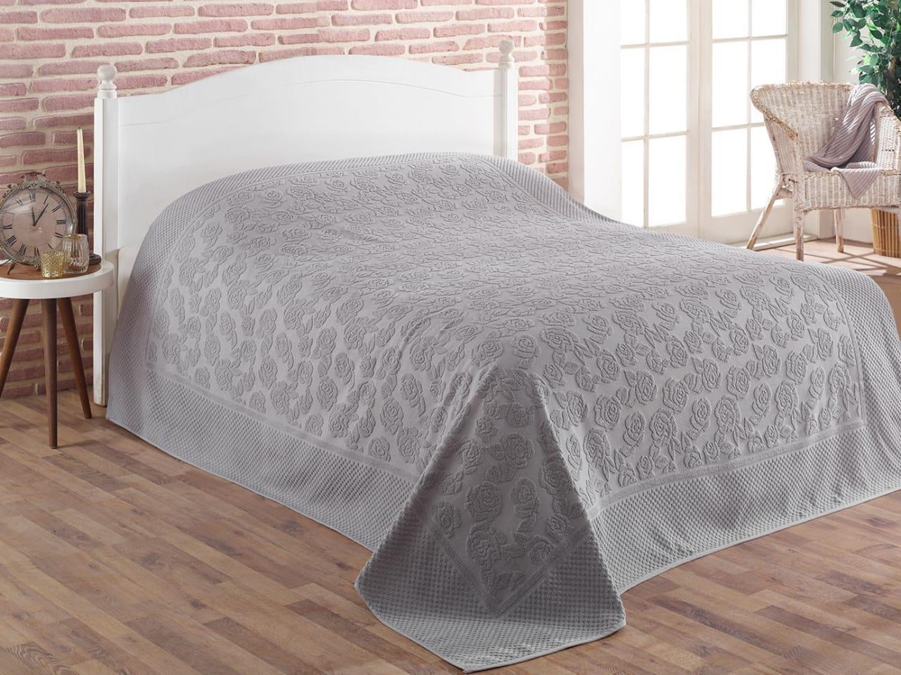 Простынь Gulcan Cotton полуторная 160*220 см махровая серая Grey