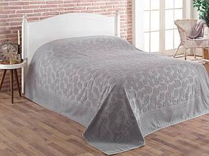 Простынь Gulcan Cotton полуторная 160*220 см махровая серая Grey, фото 2