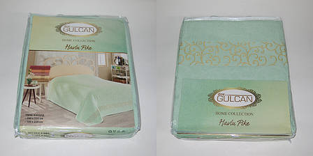 Простынь Gulcan venzel Евро 200*220 см махровая мятная Mint, фото 2