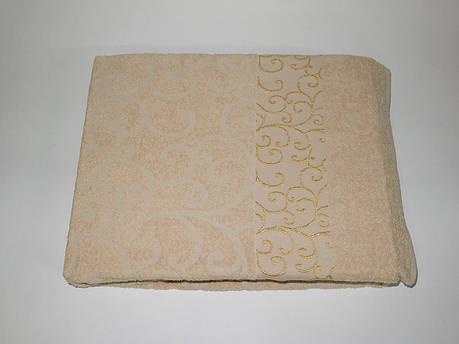 Простынь Gulcan venzel полуторная 160*220 см махровая коричневая Brown, фото 2