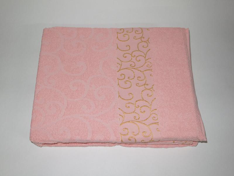 Простынь Gulcan venzel полуторная 160*220 см махровая розовая Rose