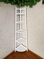 """Белая угловая этажерка из массива дерева от производителя """"Робин - 2"""""""