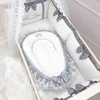 Кокон для новорожденных Маленькая Соня Royal 65*90 см сатин детский серый арт.506052