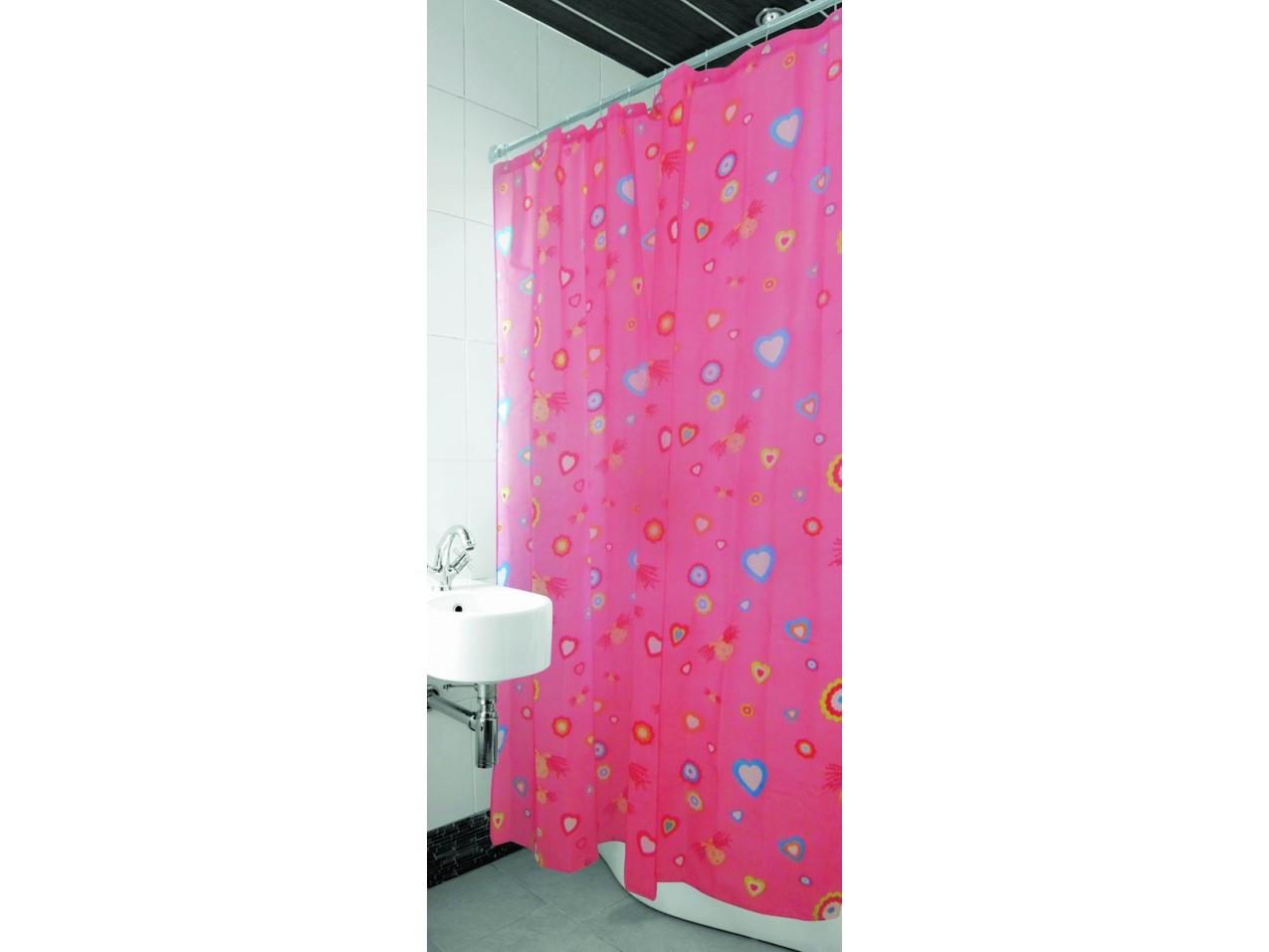 Шторка для ванной и душа Arya Pink Love 180*180 см арт.1352008