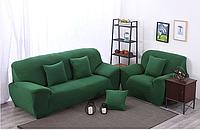 Чехол на диван Homytex трехместный 195*230 см бифлекс зеленый арт.6-12107
