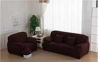 Чехол на диван Homytex трехместный 195*230 см бифлекс кофейный арт.6-12102