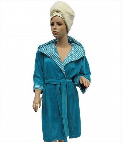 Халат Arya 13035 жіночий махровий з капюшоном р. L Темно-бірюзовий арт.1351190, фото 2