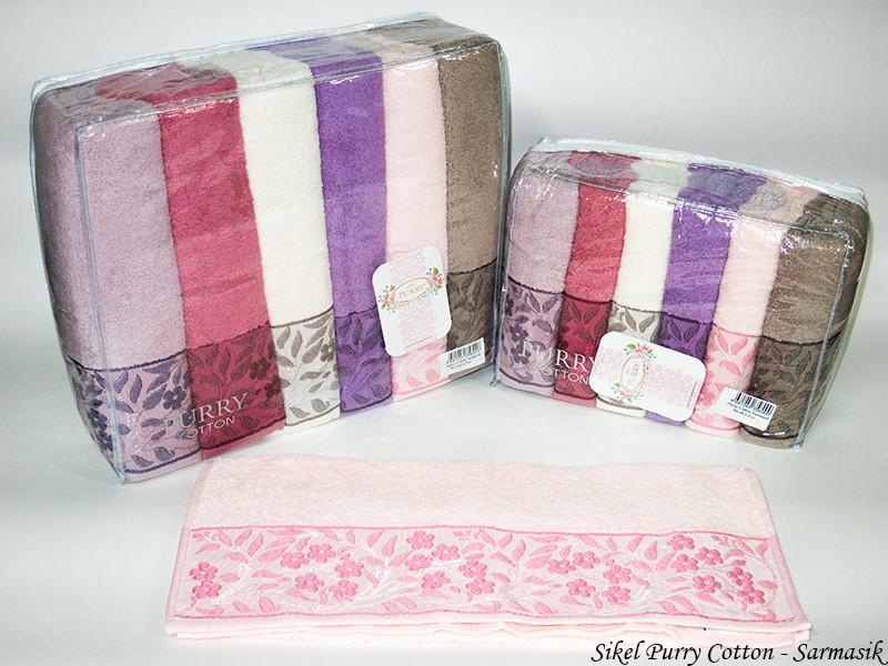 Набор полотенец для лица Purry Cotton 50*90 см махровые банные Sarmasik 6шт