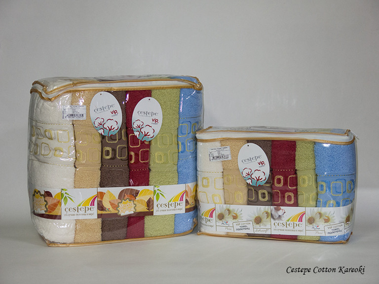 Набор полотенец для тела Cestepe Vip Cotton 70*140 см махровые банные Kareoki 6шт