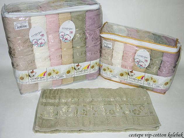 Набор полотенец для тела Cestepe Vip Cotton 70*140 см махровые банные Kelebek 6шт, фото 2