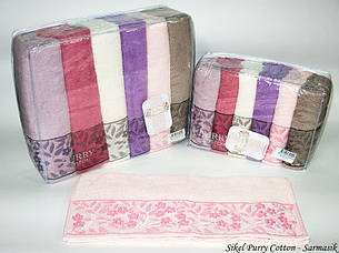 Набор полотенец для тела Purry Cotton 70*140 см махровые банные Sarmasik 6шт, фото 2
