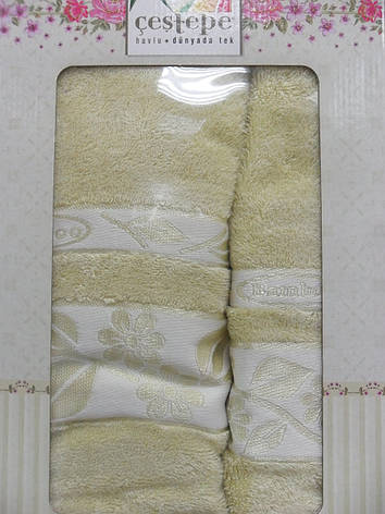 Набор полотенец для лица и тела Cestepe Bamboo 50*90 см + 70*140 см бамбуковые банные в коробке 2шт, фото 2
