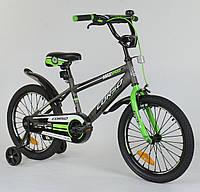 """Детский двухколёсный велосипед 18 дюймов """"CORSO"""" ST - 1015 серый, СТАЛЬНАЯ РАМА"""