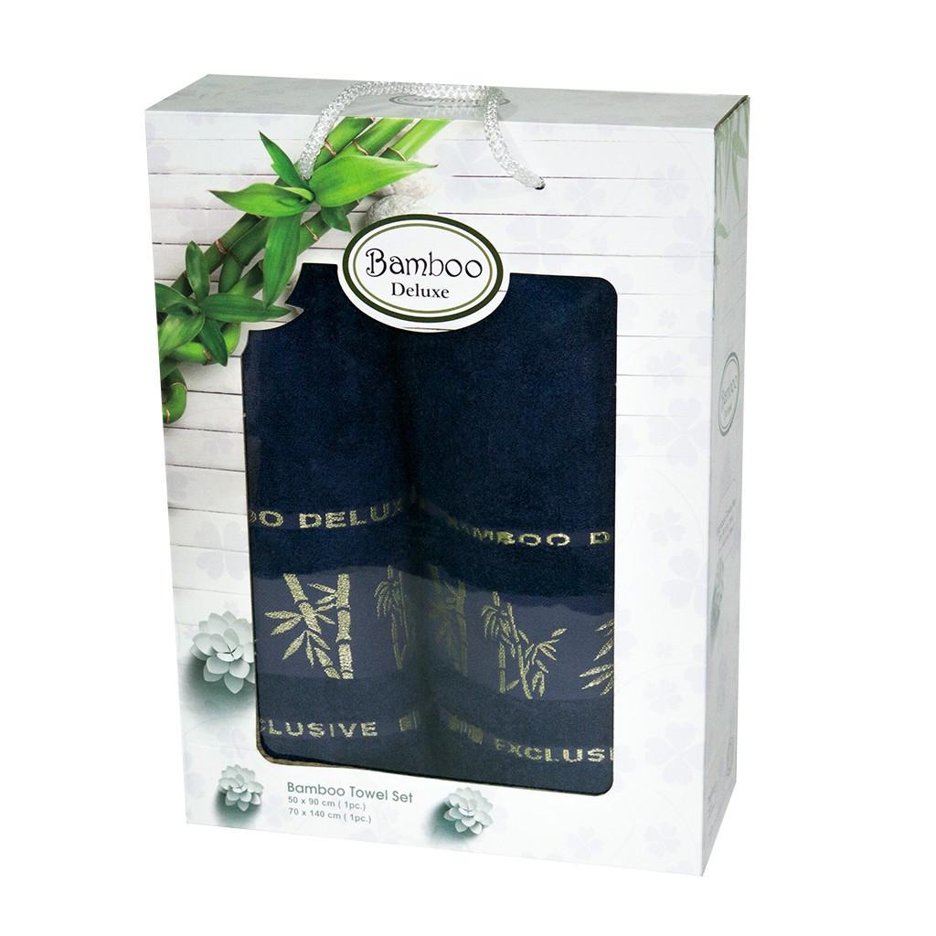 Набор полотенец для лица и тела Gursan Bamboo 50*90 см + 70*140 см бамбуковые банные в коробке Dark Blue 2шт