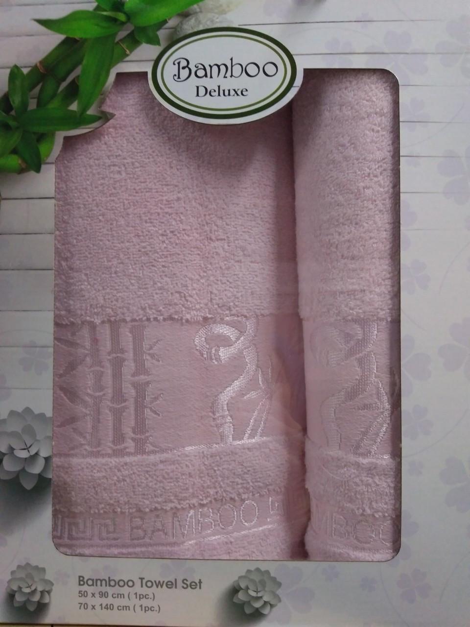 Набор полотенец для лица и тела Gursan Bamboo 50*90 см + 70*140 см бамбуковые банные в коробке Rose 2шт