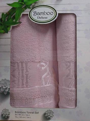 Набор полотенец для лица и тела Gursan Bamboo 50*90 см + 70*140 см бамбуковые банные в коробке Rose 2шт, фото 2