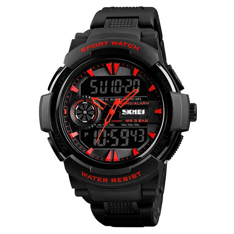 Уценка!!!!Мужские часы Skmei 1320 PROTECT черные с красным