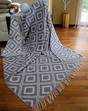 Плед Vladi Жаккардовый Изумруд полуторный 140*200 см шерстяной бело-серый, фото 2