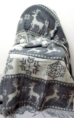 Плед Vladi Жаккардовый Олени полуторный 140*200 см бело-серый, фото 2