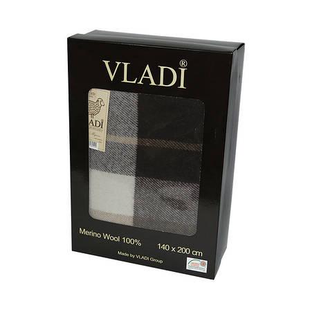 Плед Vladi Марсель полуторный 140*200 см шерстяной бежево-коричневый крупная клетка в коробке, фото 2