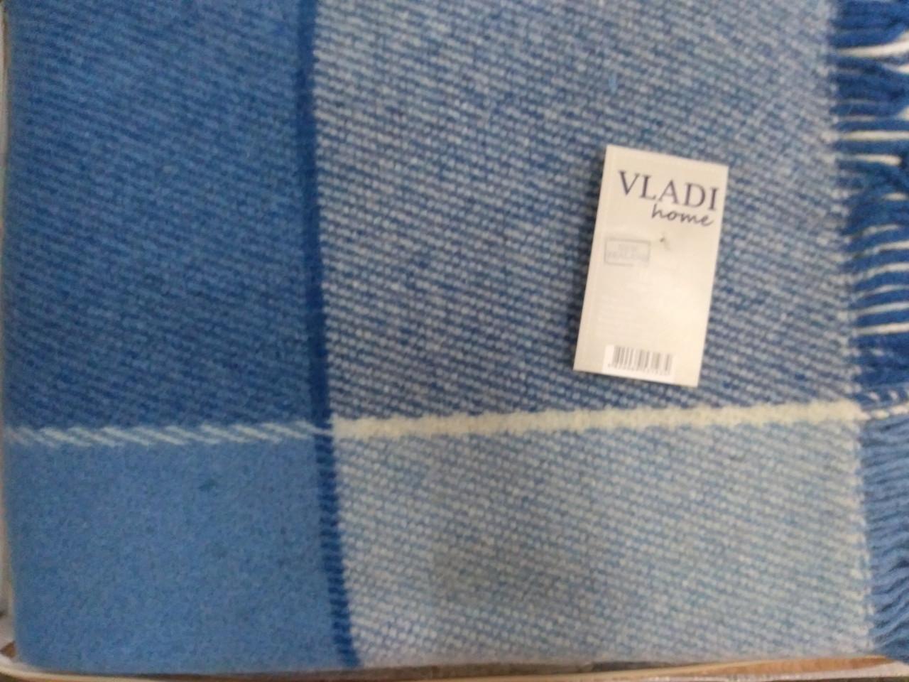 Плед Vladi Эльф 1 двуспальный 170*210 см шерстяной бело-голубой-кобальтовый крупная клетка