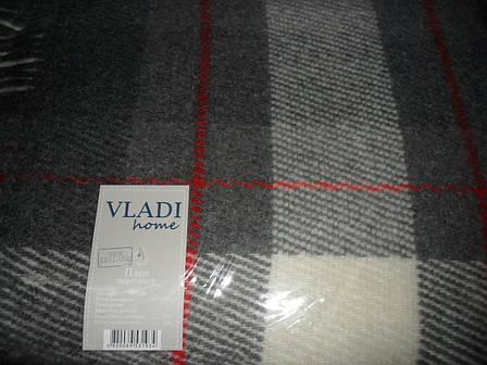 Плед Vladi Эльф 6 полуторный 140*200 см шерстяной серо-голубой-темно серый-бело-красный(burberry), фото 2
