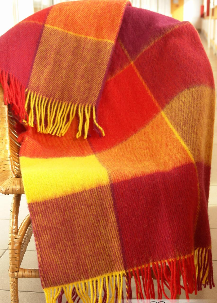 Плед Vladi Эльф Евро 200*220 см шерстяной желто-красно-бордовый крупная клетка