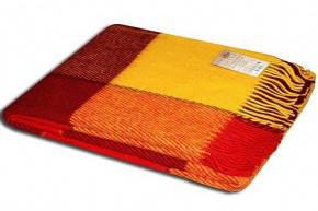 Плед Vladi Эльф Евро 200*220 см шерстяной желто-красно-бордовый крупная клетка, фото 2
