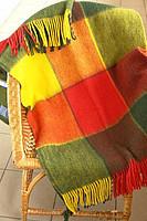 Плед Vladi Эльф двуспальный 170*210 см шерстяной желто-красно-зеленый крупная клетка