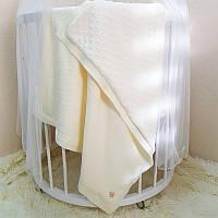 Плед Маленькая Соня WellSoft Рогожка 80*100 см хлопковый вязаный утепленный детский молочный арт.825135