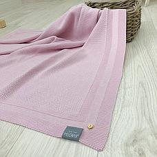 Плед Маленькая Соня Рогожка 80*100 см хлопковый вязаный детский розовый арт.825309, фото 2