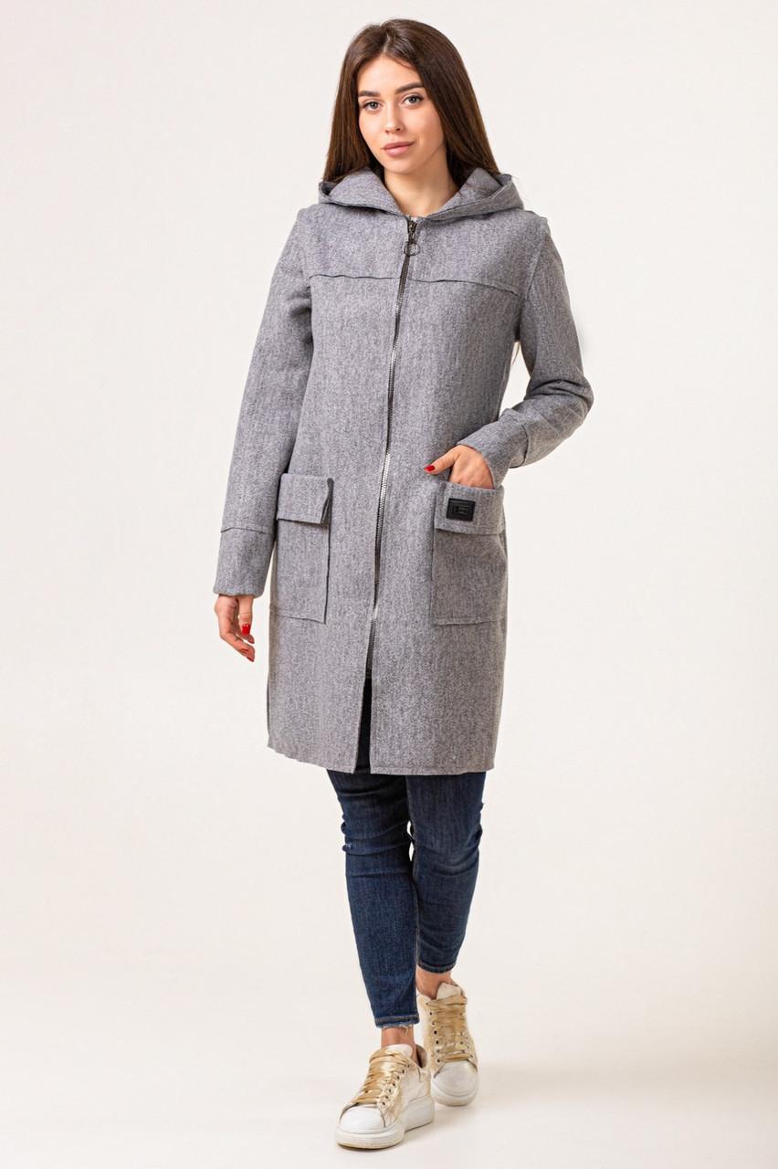 Кардиган женский длинный  теплый 42-50 серый