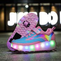 Роликовые кроссовки на 2 роликах светящиеся, в стиле Heelys, для девочек и мальчиков, USB (N460)