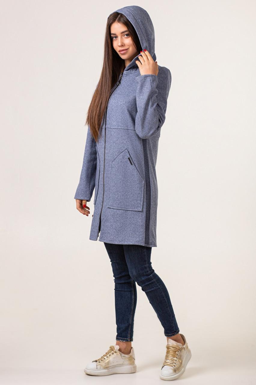 Женский кардиган  модный удлиненный 42-48 синий