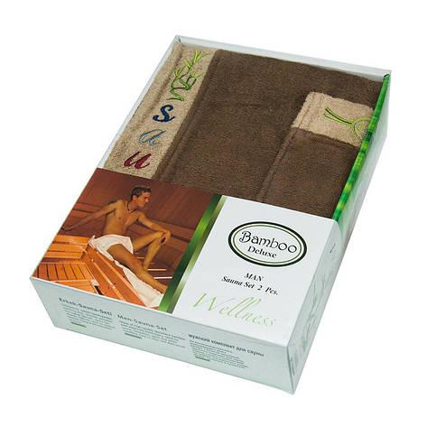 Набор полотенец для сауны Gursan Sauna Bamboo Man бамбуковый мужской 2 предмета коричневый Brown, фото 2
