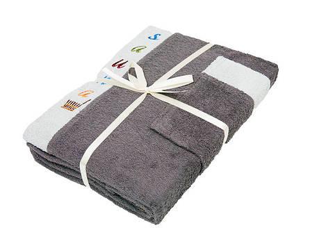 Набор полотенец для сауны Gursan Sauna Cotton Man махровый мужской 3 предмета серый Gray, фото 2