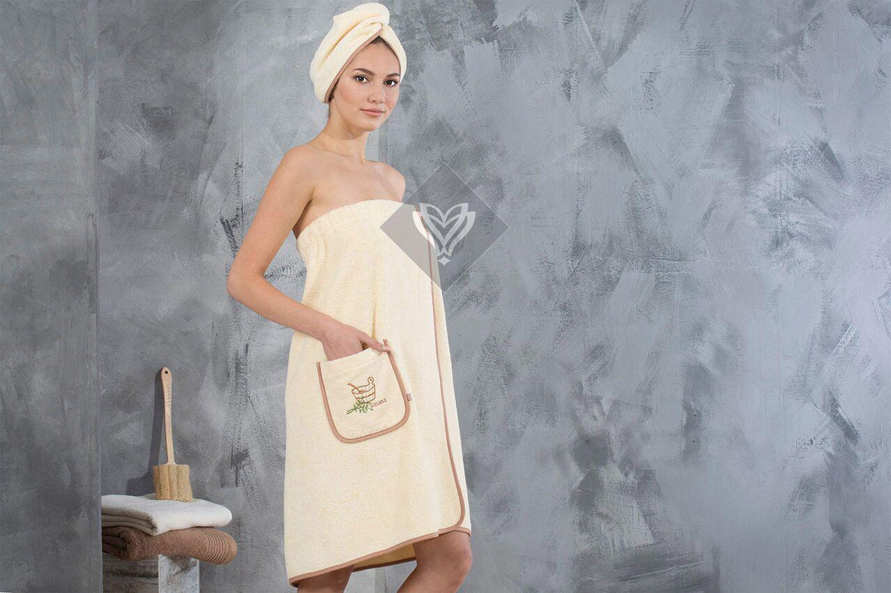 Набор полотенец для сауны Ideia махровый женский 2 предмета бежевый арт.8-12334