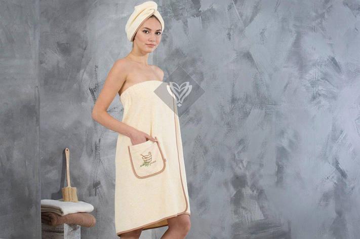 Набор полотенец для сауны Ideia махровый женский 2 предмета бежевый арт.8-12334, фото 2