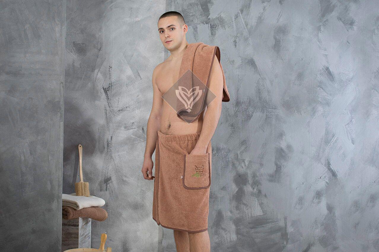 Набор полотенец для сауны Ideia махровый мужской 2 предмета коричневый арт.8-12335
