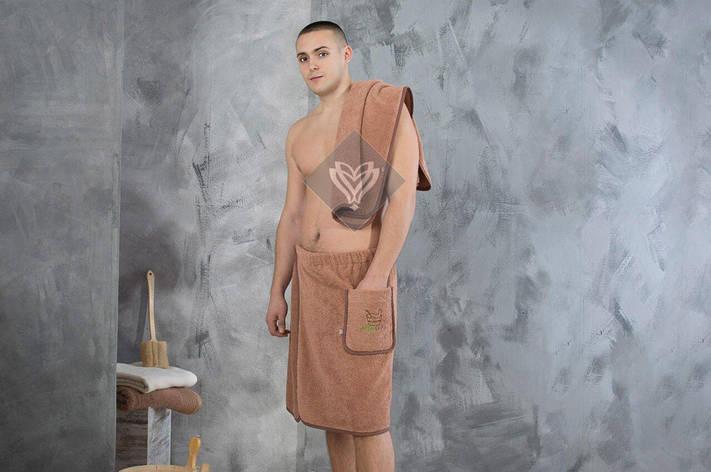 Набор полотенец для сауны Ideia махровый мужской 2 предмета коричневый арт.8-12335, фото 2
