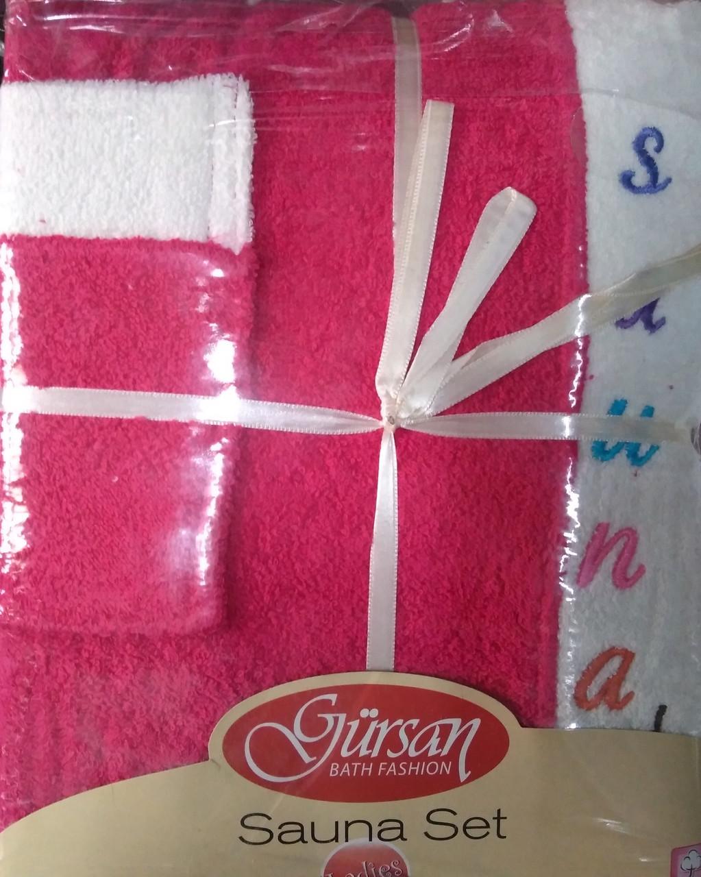 Набор полотенец для сауны Petek Sauna Cotton Woman махровый женский 3 предмета малиновый