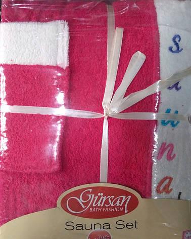 Набор полотенец для сауны Petek Sauna Cotton Woman махровый женский 3 предмета малиновый, фото 2