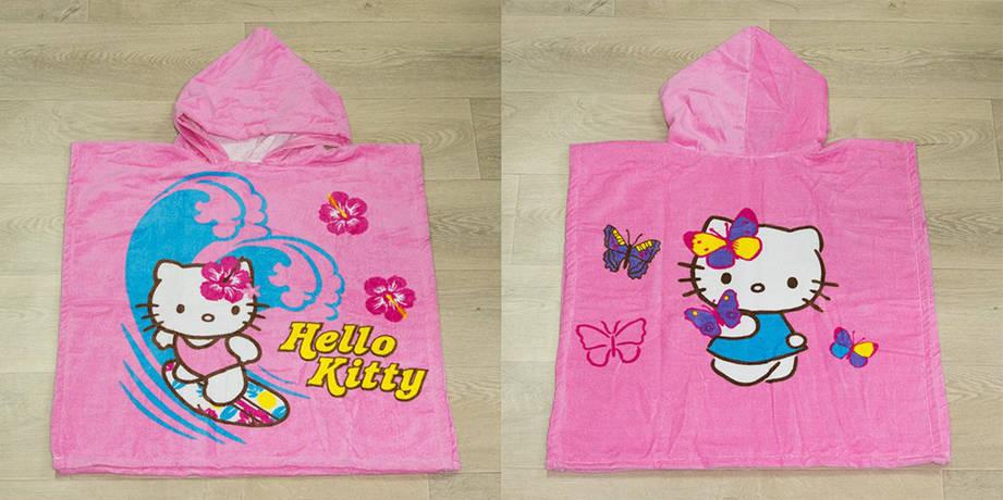Полотенце-пончо Турция Kitty Butterfly 55*60*80 см велюровое детское, фото 2