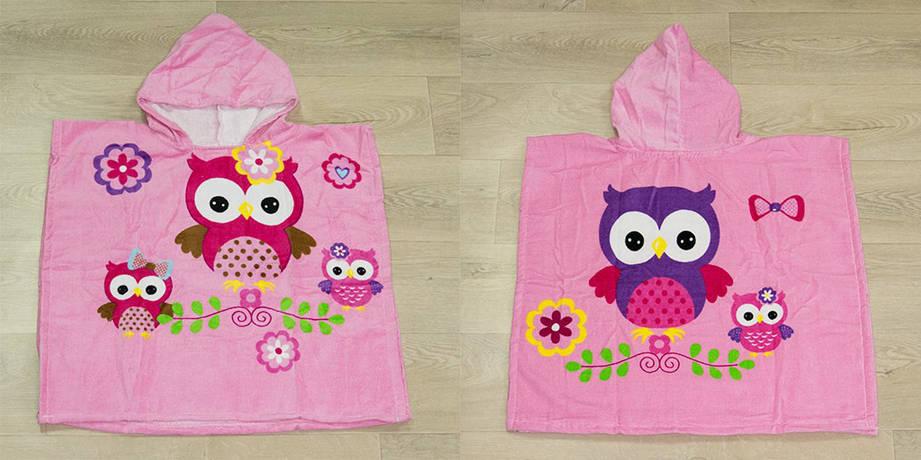Полотенце-пончо Турция Owls 55*60*80 см велюровое детское, фото 2