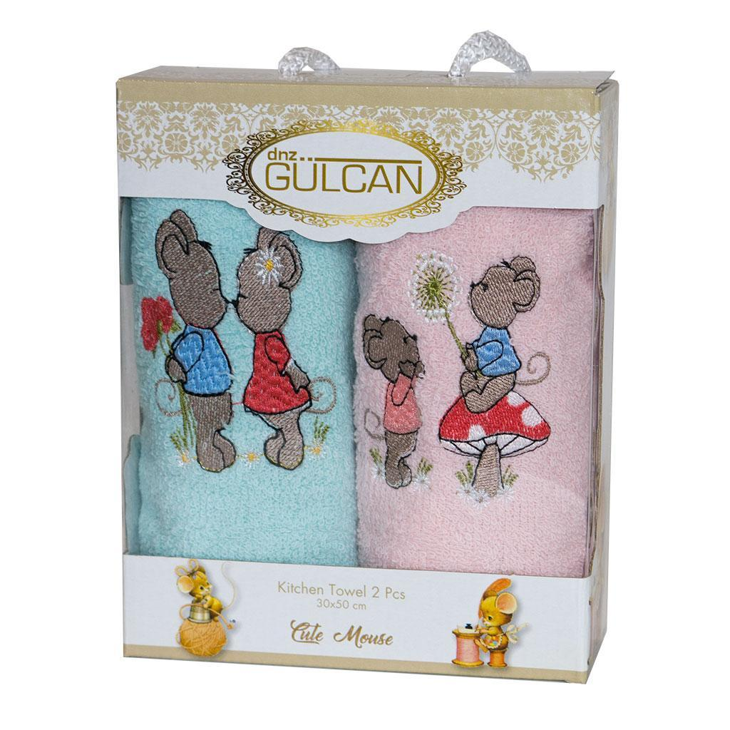 Набор полотенец для кухни Gulcan Mouse Мышка 30*50 см махровые в коробке новогодние 2шт