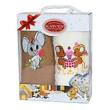 Набор полотенец для кухни Gulcan Mouse Мышка 30*50 см махровые в коробке новогодние 2шт, фото 3
