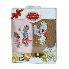 Набор полотенец для кухни Gulcan Mouse Мышка 30*50 см махровые в коробке новогодние 2шт, фото 2